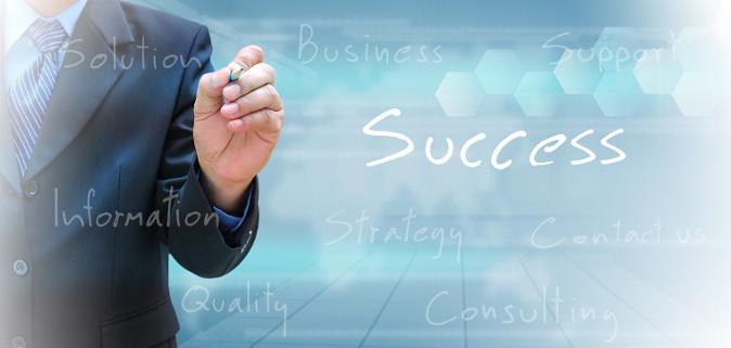 businessman hand writing success